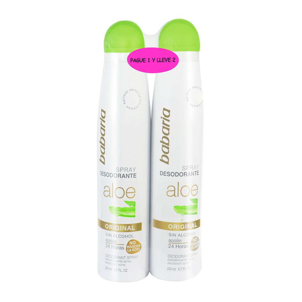 Desodorante Babaria aloe original spray x 200 ml c/u pague 1 lleve 2