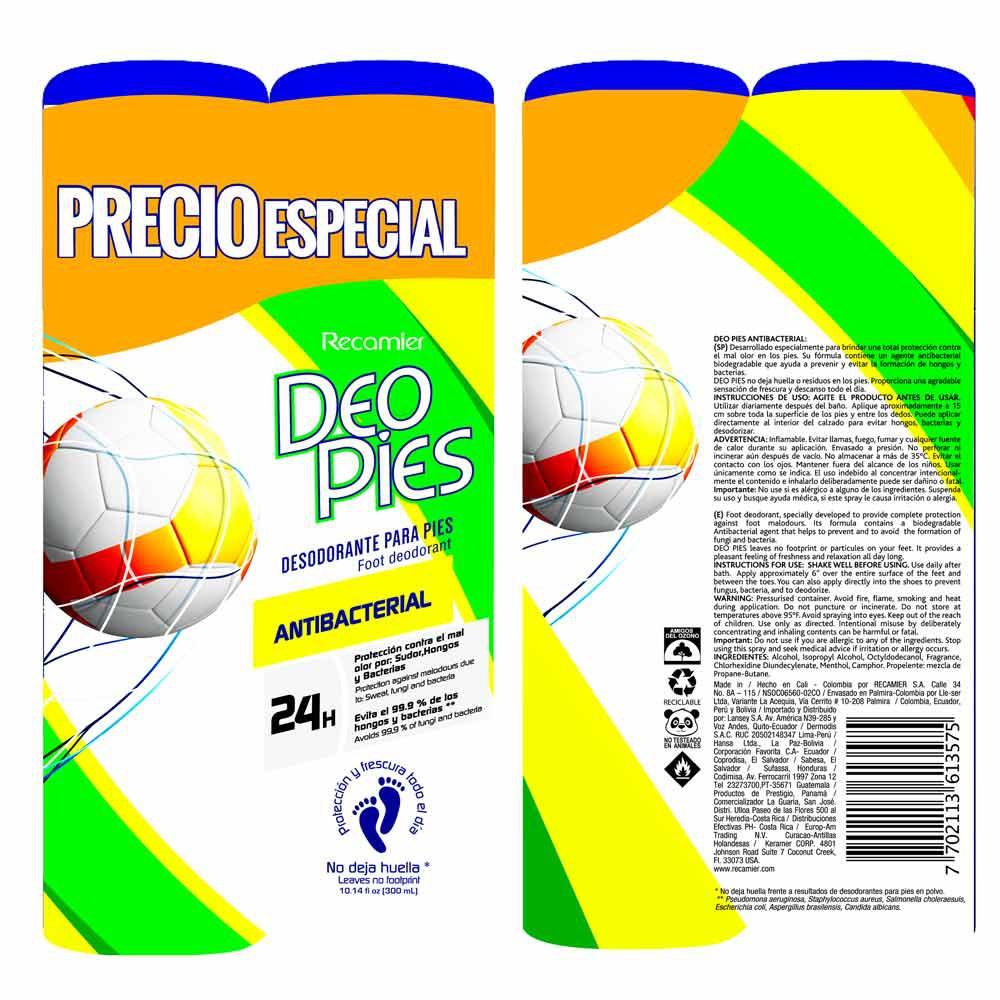 Desodorante Deo Pies antibacterial x 2und x 300ml c-u precio especial