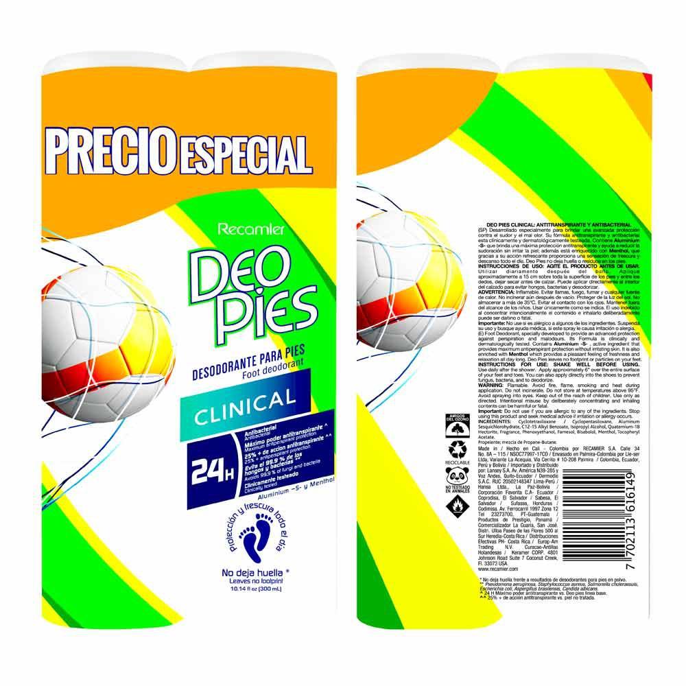 Desodorante Deo Pies clinical x 2und x 300ml c-u precio especial