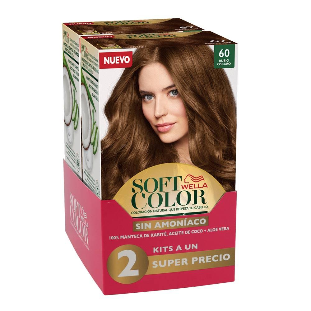 Kit Wella soft color tono 60 rubio oscuro x 2 und precio especial