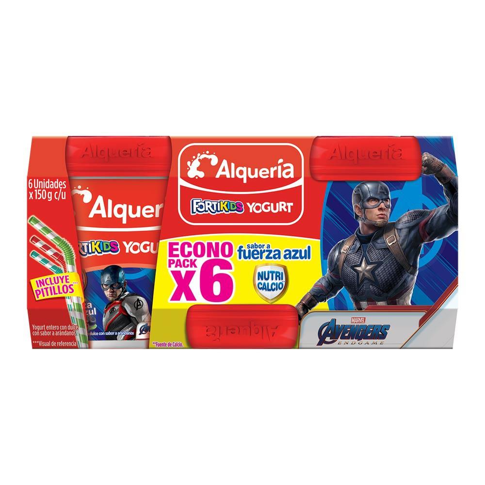 Yogurt Alquería fortificado arándano x 6und x 150g  c-u gratis pitillos