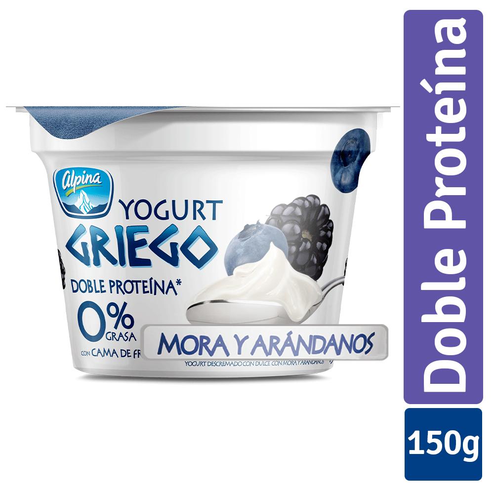 Yogurt griego mora arándanos