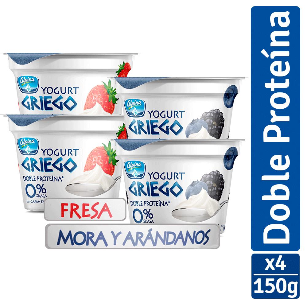Yogurt griego fresa + mora arándanos