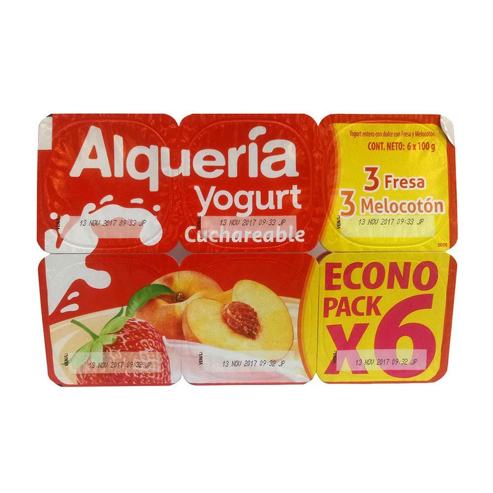 Yogurt Alquería cuchareable surtido fresa y melocotón