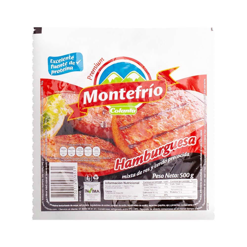 Hamburguesa de res Montefrío Colanta x 6 und x 500 g