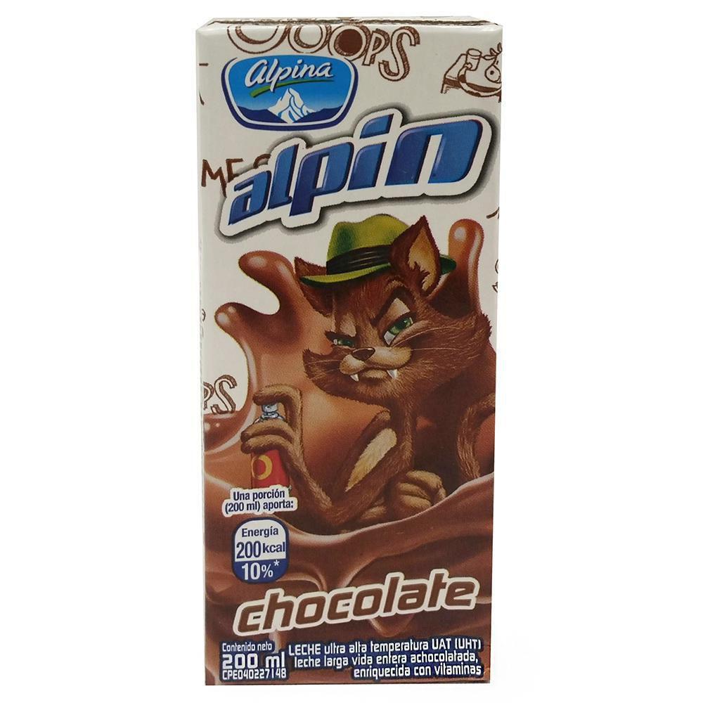 Leche Saborizada Alpin Chocolate En Caja X 200 ml