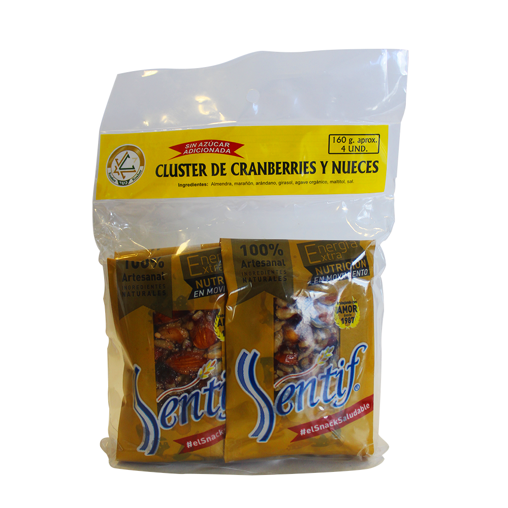 Barra Cereal Sentif Cranberries/Nueces X 4Und