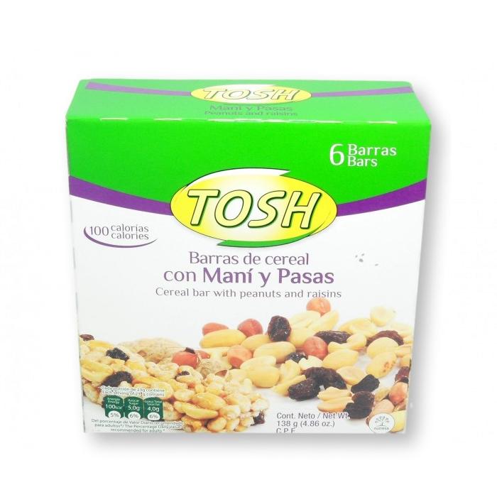Barra Cereal Tosh Mani Pasas X6 Und 138G