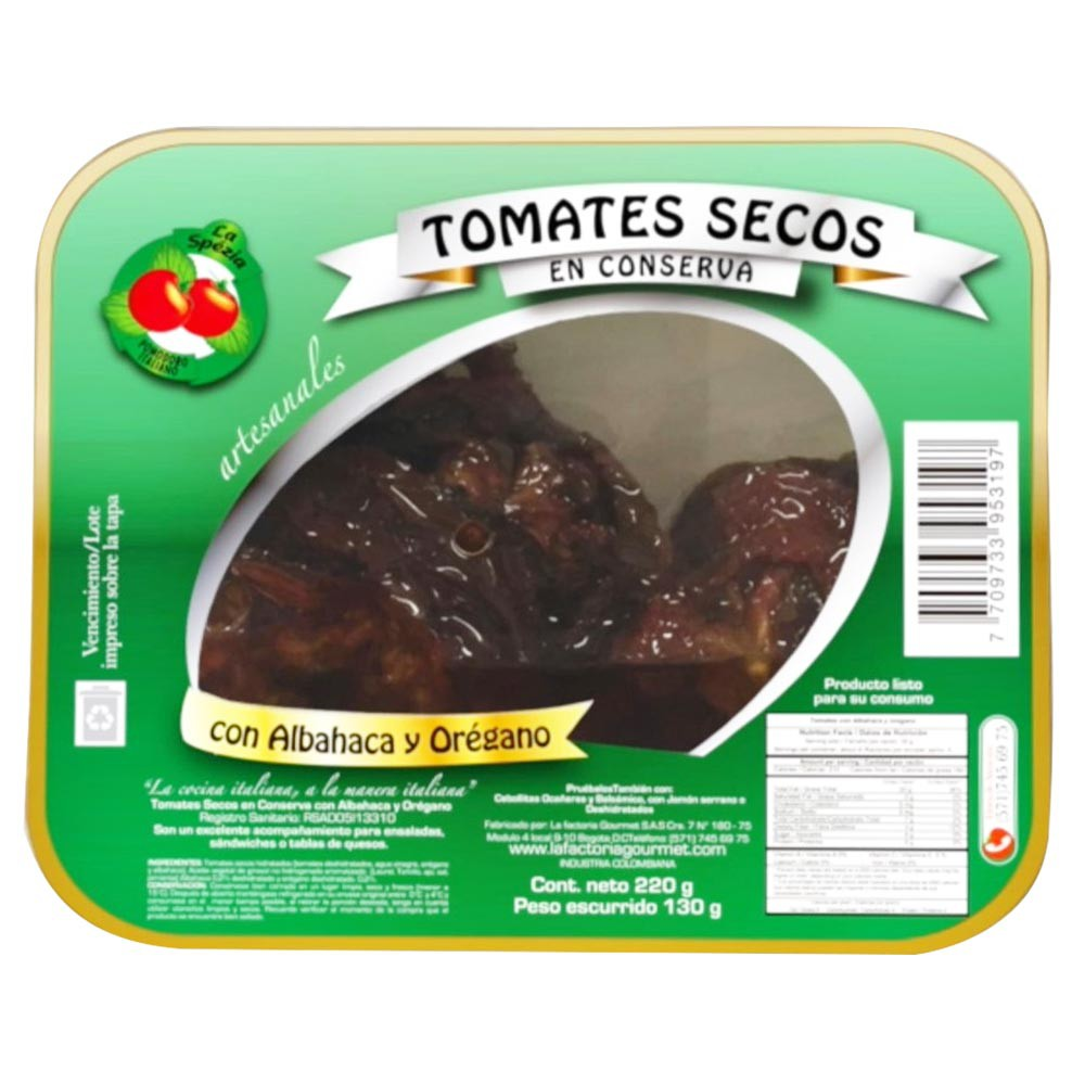 Tomates secos La Spezia albahaca orégano x 220g