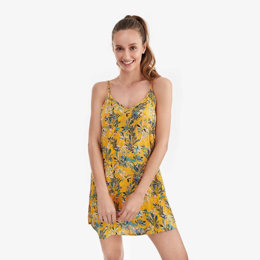 Camisa Dormir Mujer Tropical Amarilla Talla M