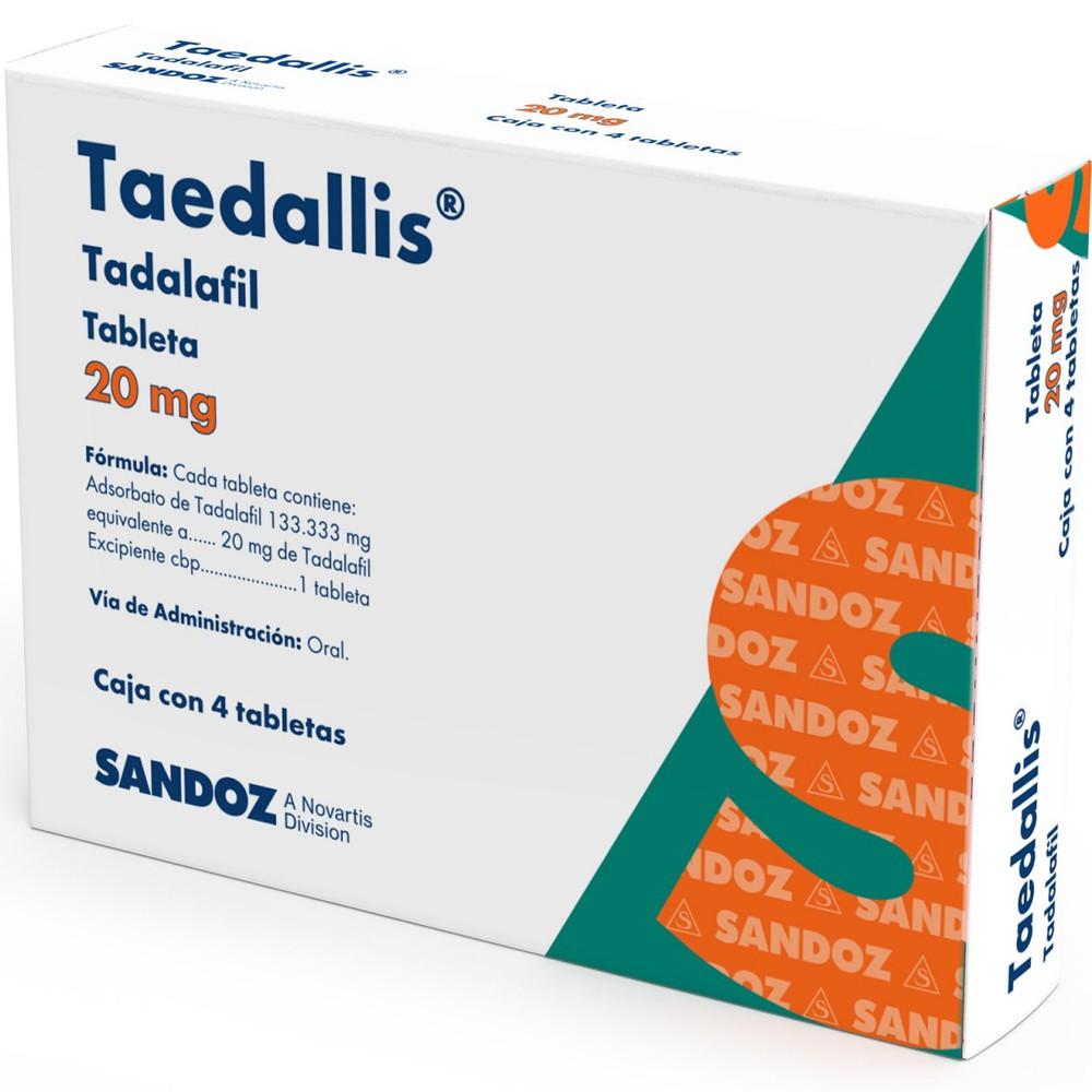 Taedallis Tadalafil Tabletas 20 Mg Sandoz 4 Piezas A Domicilio Cornershop Mexico