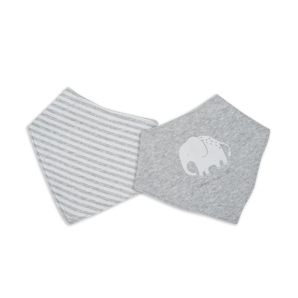 Babero estampado de elefante gris melange