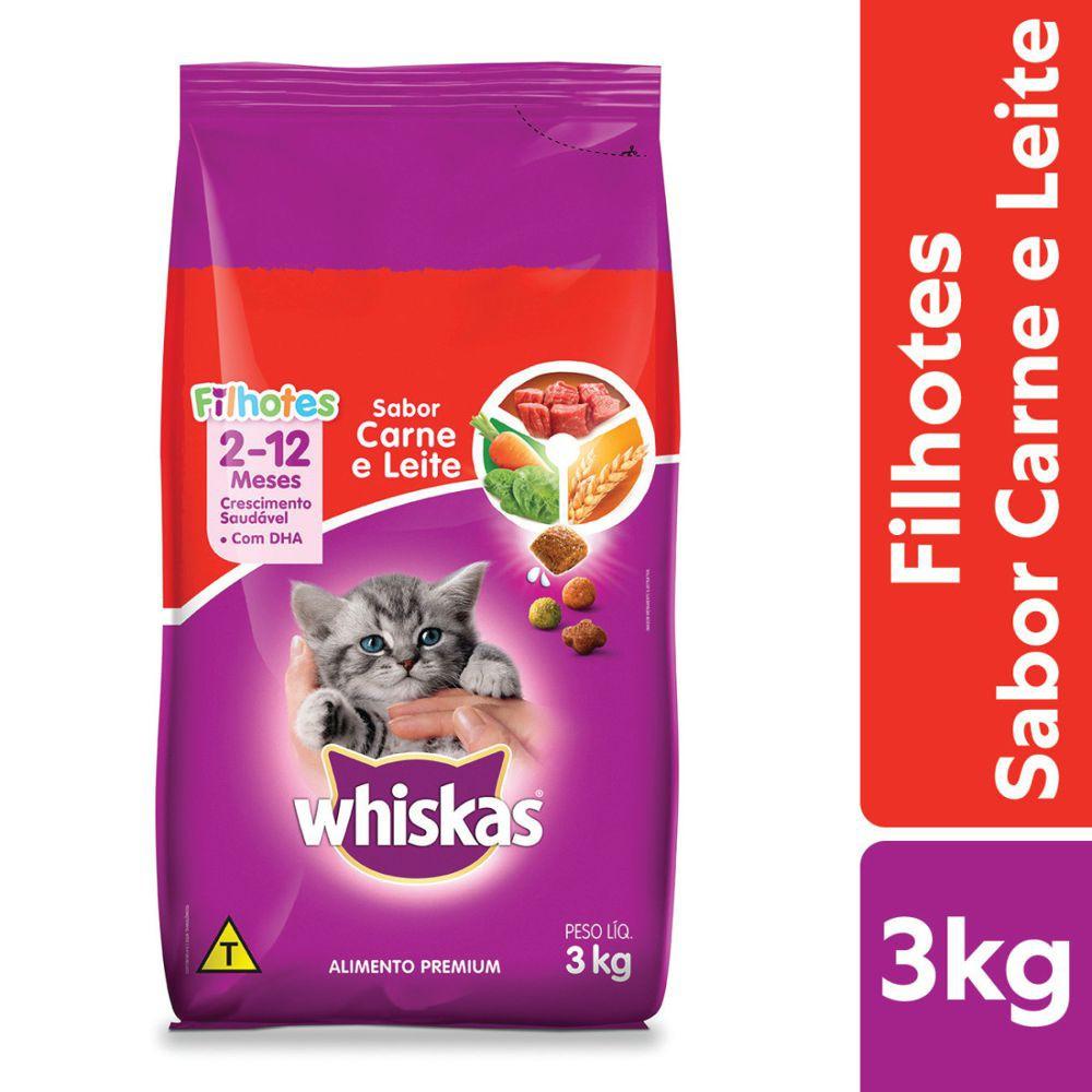 Ração carne e leite gatos filhotes 3kg