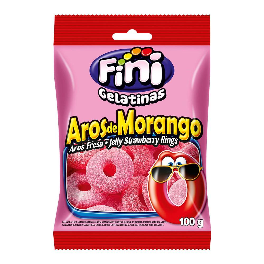 Bala de gelatina aros de morango