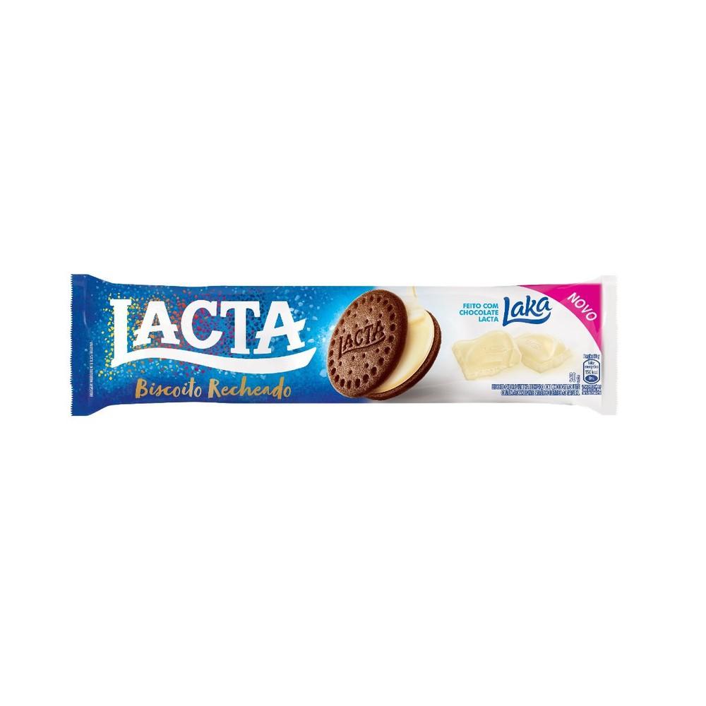 Biscoito doce recheado sabor chocolate branco Laka