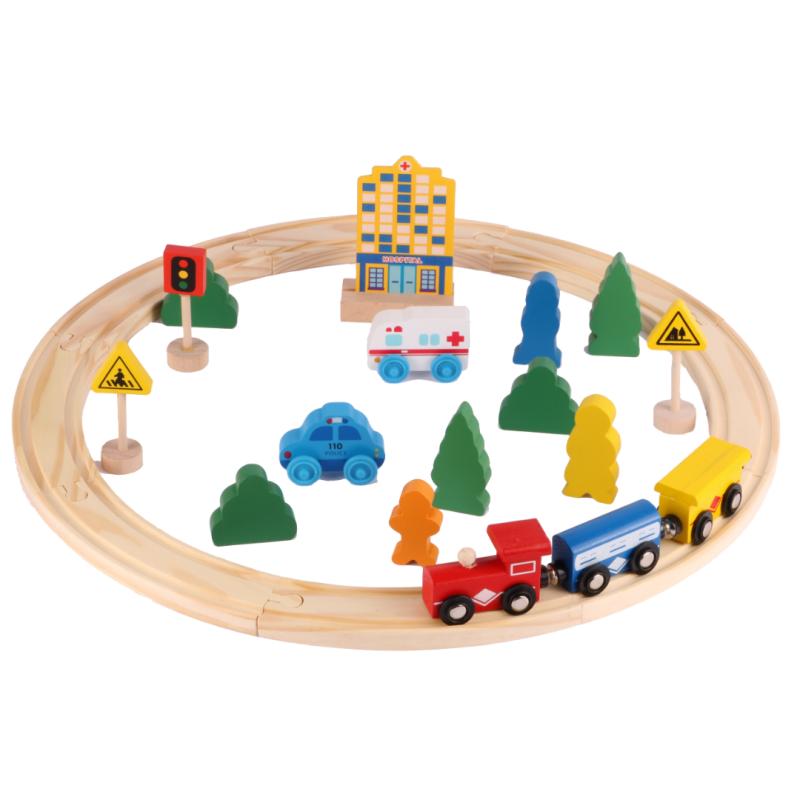 Pista tren de madera 26 piezas En cajita de 30x20cm