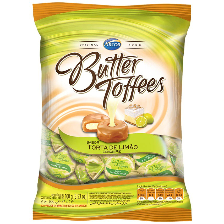 Bala de caramelo sabor torta de limão Butter Toffees
