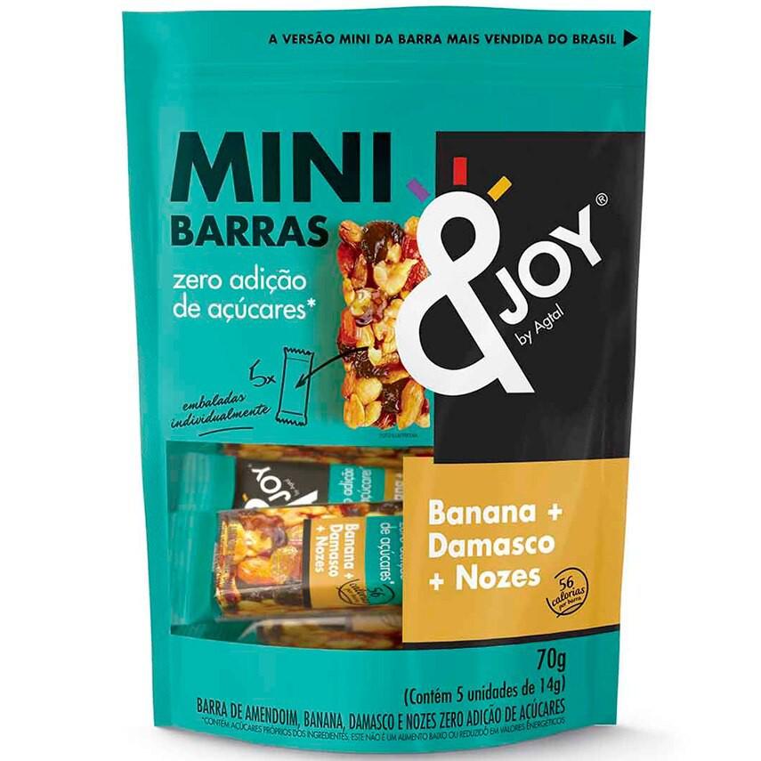 Barra de Cereal Mini Banana, Damasco e Nozes Zero Açúcar &Joy