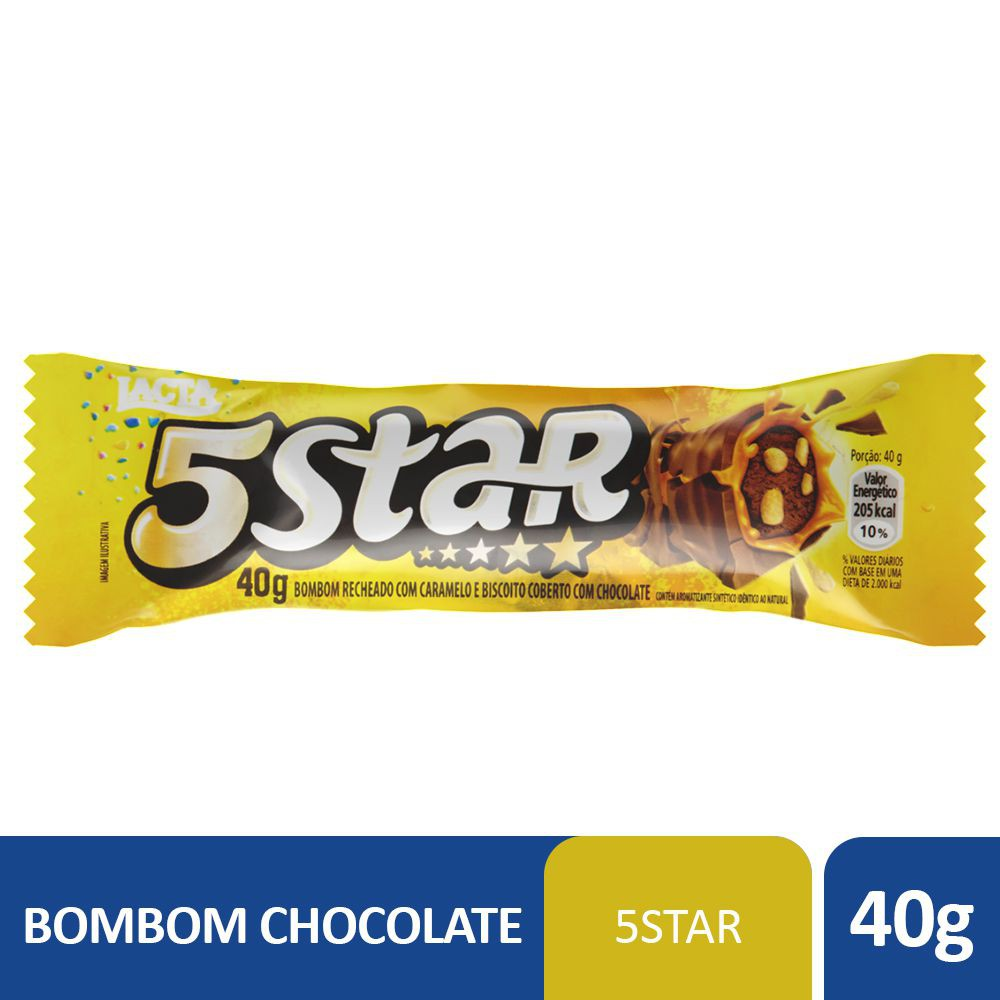 Bombom caramelo e biscoito coberto com chocolate 5 Star