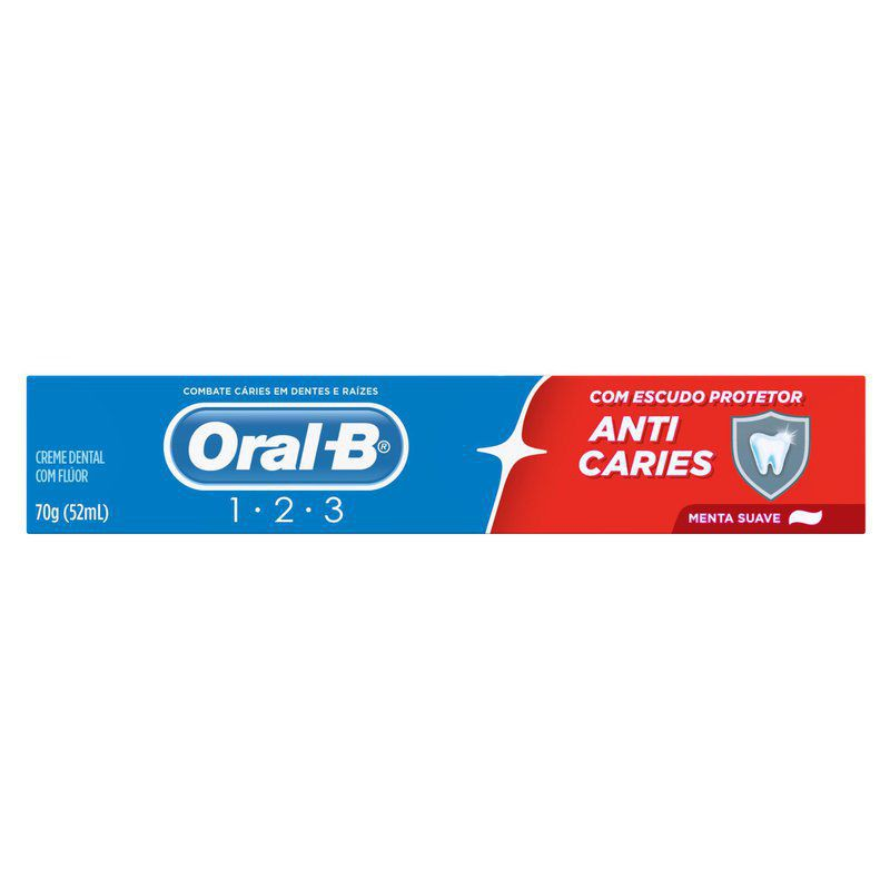 Creme dental 123 anticáries menta suave
