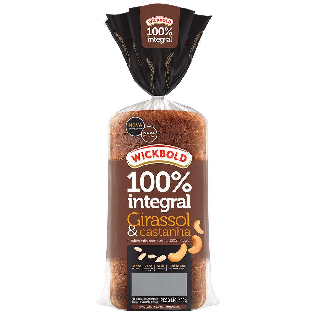 Pão de forma 100% integral girassol e castanha