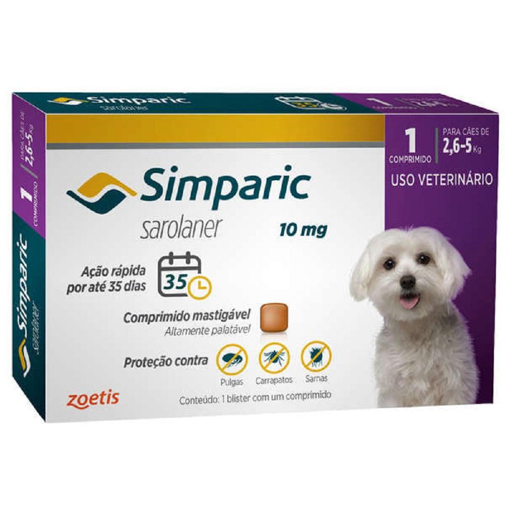 Antipulga simparic para cães de 2,6 a 5Kg 10mg