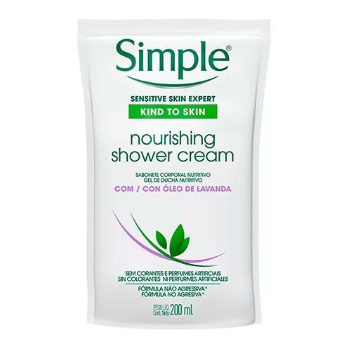 Sabonete Líquido Corporal Simple Nourishing Shower Cream Refil 200ml