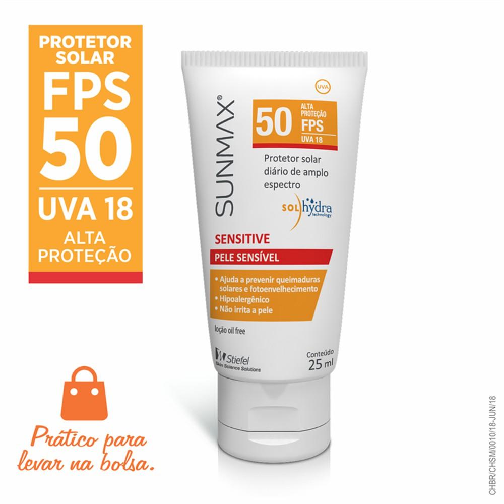 Protetor Solar Facial Sunmax Sensitive FPS 50 25ml