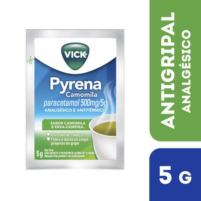 Chá para gripe Pyrena Camomila paracetamol 500mg