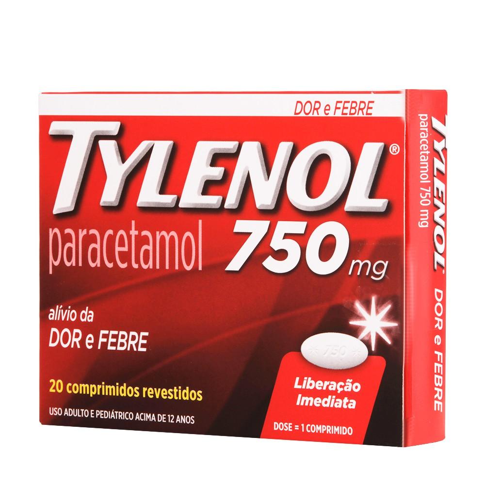Analgésico paracetamol 750mg 20 comprimidos