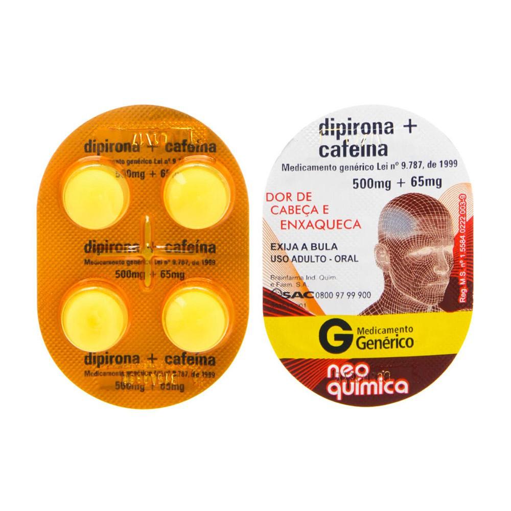 Dipirona Sódica+Cafeina Genérico Neo Química 4 Comprimidos Blister