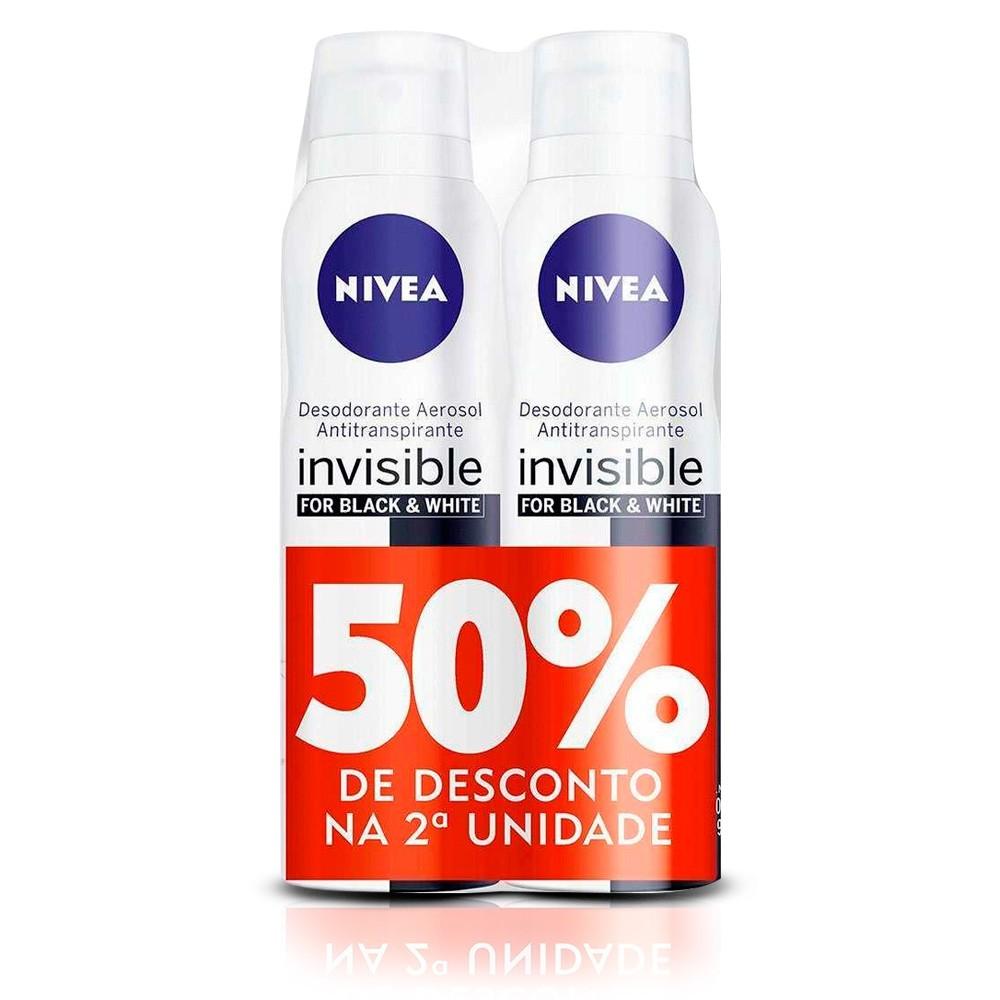 Kit de desodorante aerosol feminino invisible for black & white