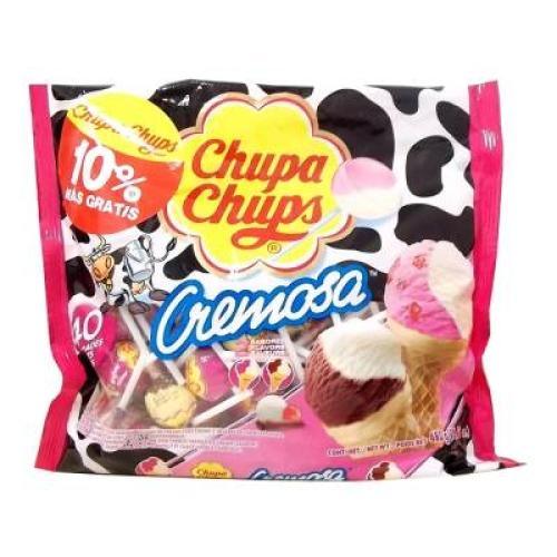 Paleta de caramelo Chupa Chups sabores fresas con crema y chocolate
