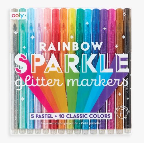 Set marcadores con glitter