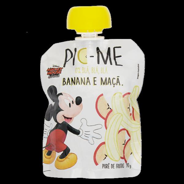 Purê de frutas banana e maçã Mickey Mouse