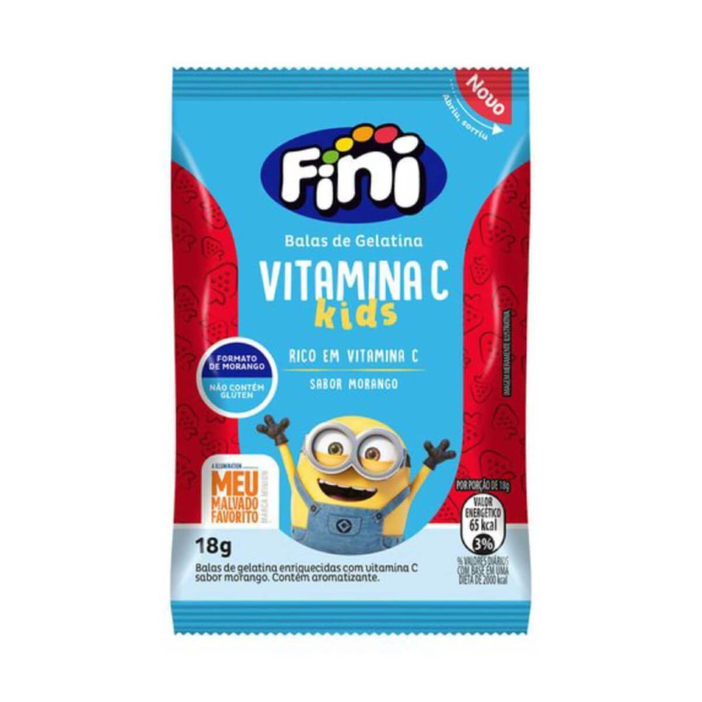 Bala de Gelatina Fini Vitamina C kids Sabor Morango