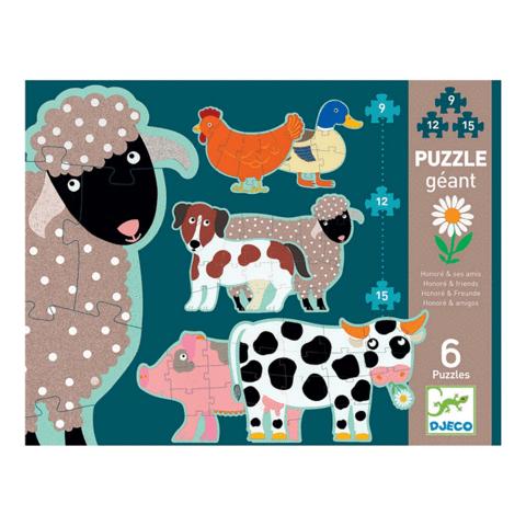 Puzzle gigante honore y sus amigos 33 x 25,5 x 6 cm. Contiene 6 puzzles de 9, 12 y 15 piezas .