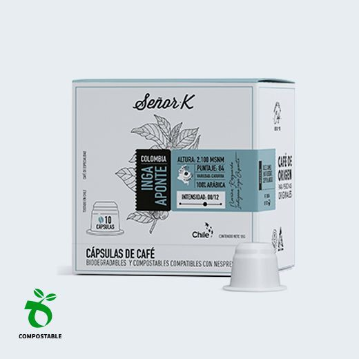 Café en cápsulas biodegradables y compostables Inga Aponte, 10 cápsulas