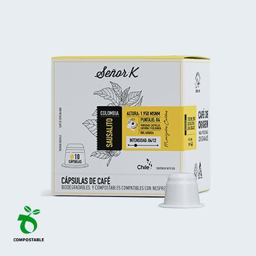 Café en cápsulas biodegradables y compostables Sausalito, 10 cápsulas