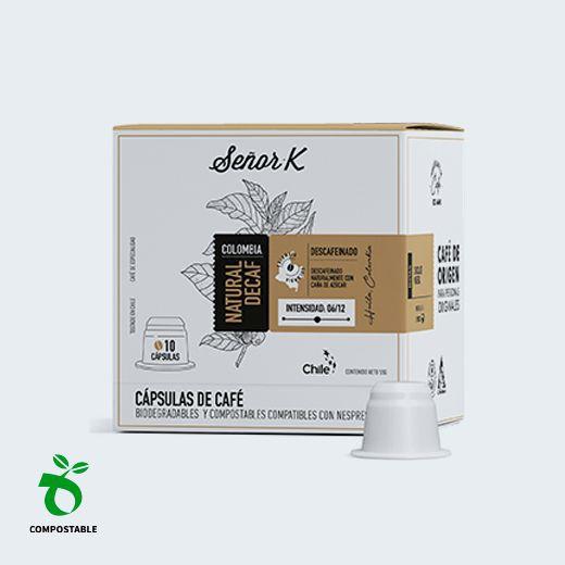 Café en cápsulas biodegradables y compostables Natural Decaf, 10 cápsulas