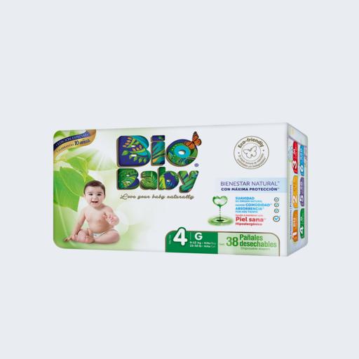 Pañales ecológicos Talla 4: Grande de 9 a 13 kilos (38 unidades)