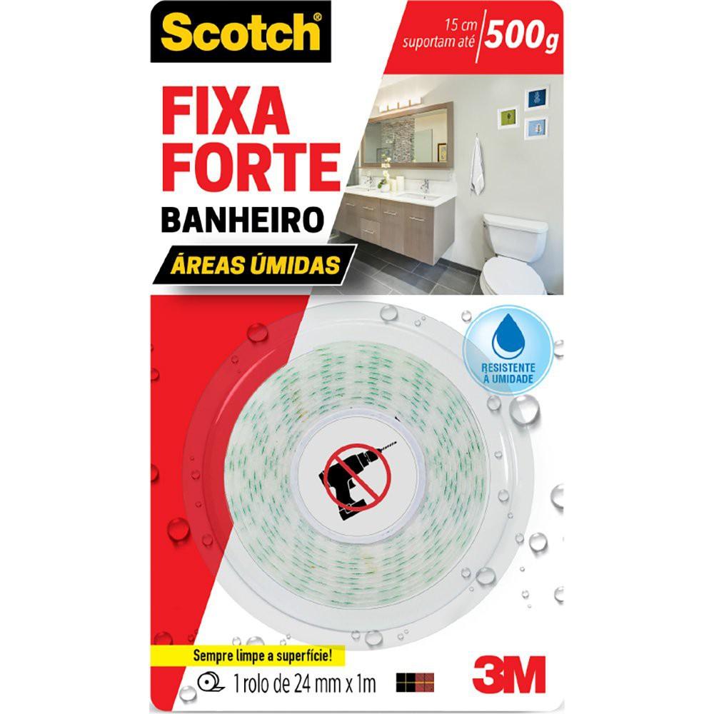 Fita adesiva dupla face fixa forte banheiro Scotch 24mm x 1,5m