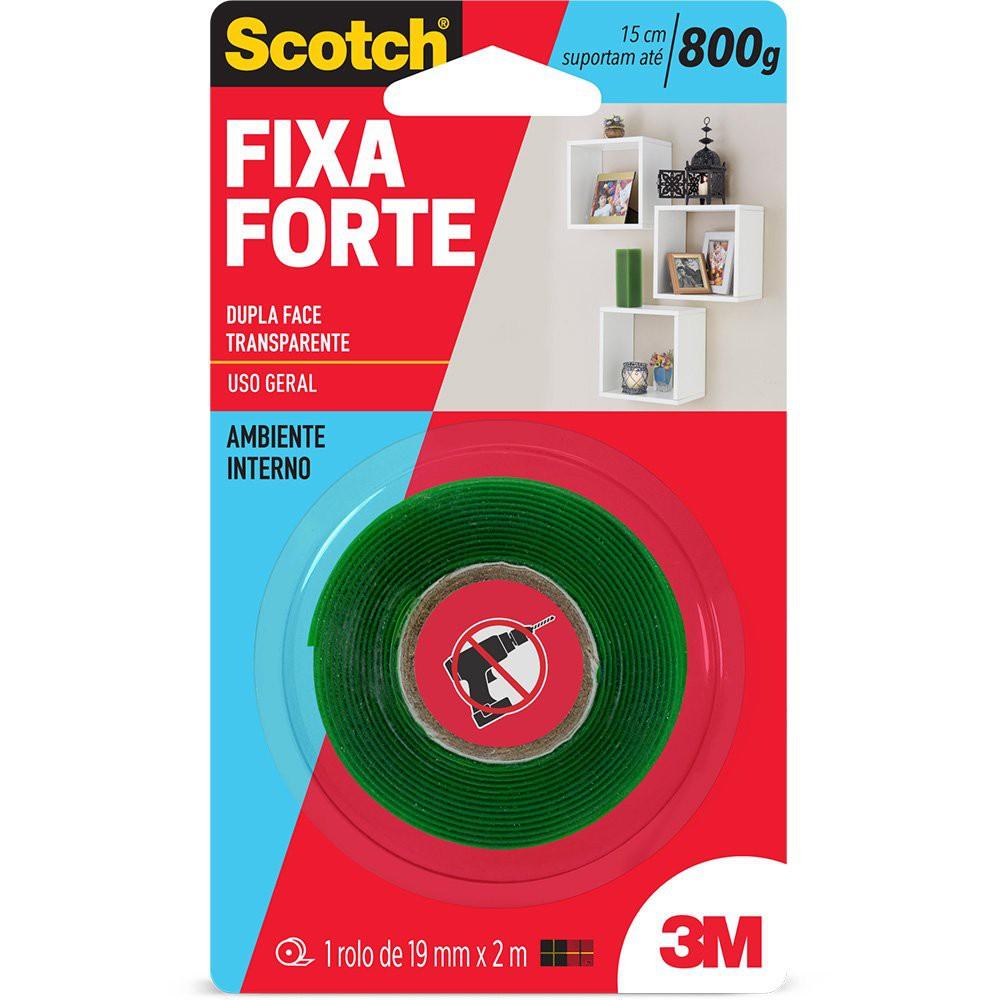 Fita adesiva dupla face fixa forte Scotch 19mmx2m