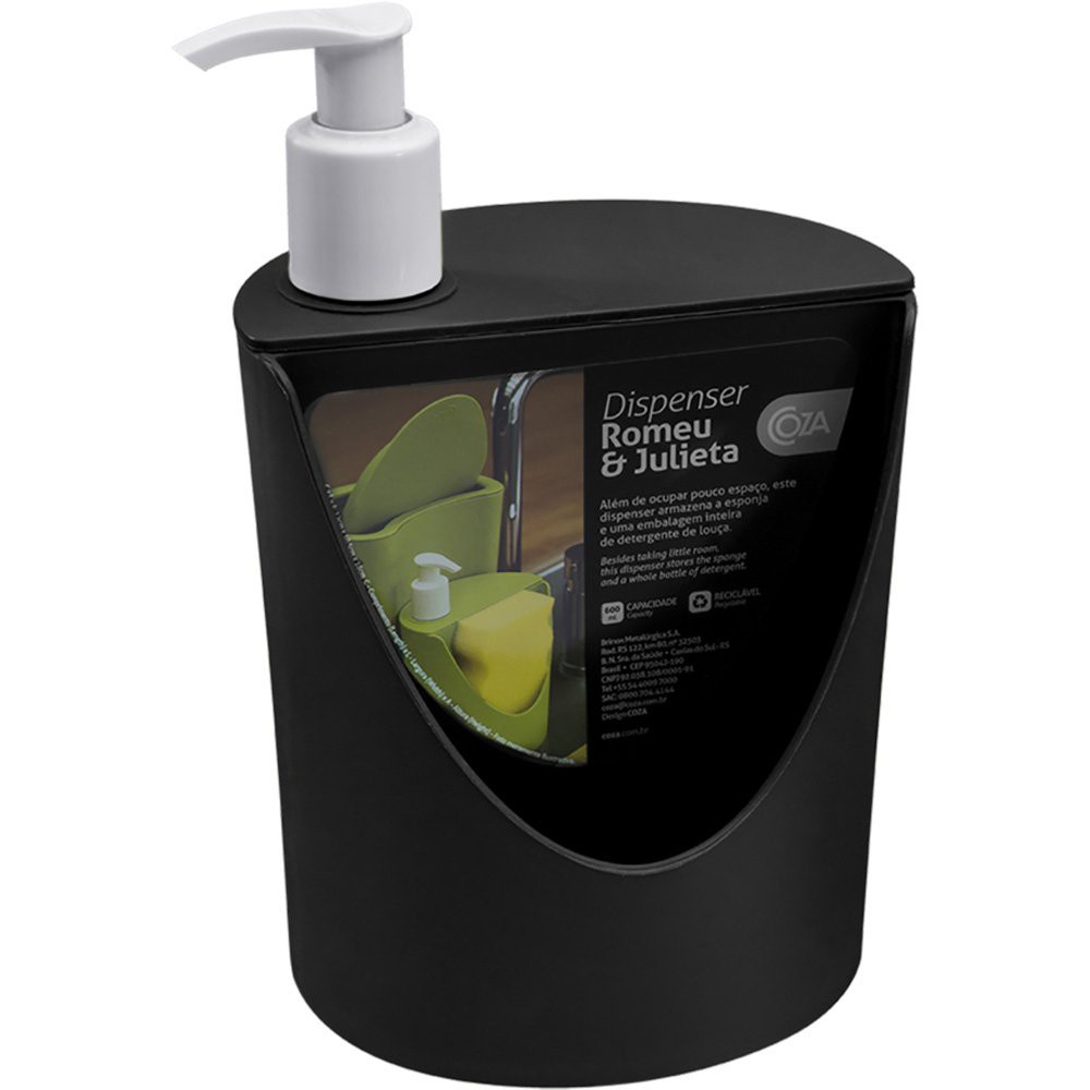 Dispenser para detergente com suporte para esponja preto