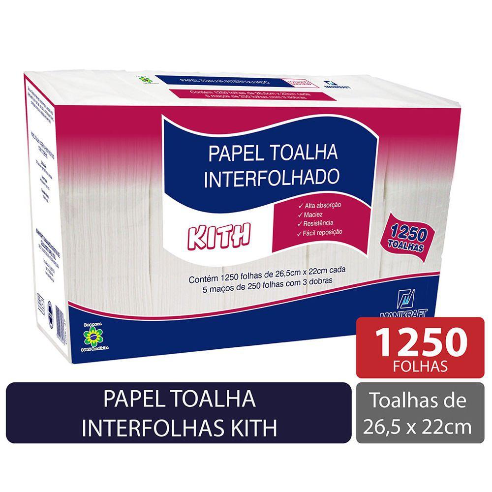 Papel toalha interfolha 22x26,5 3 dobras Kith fls