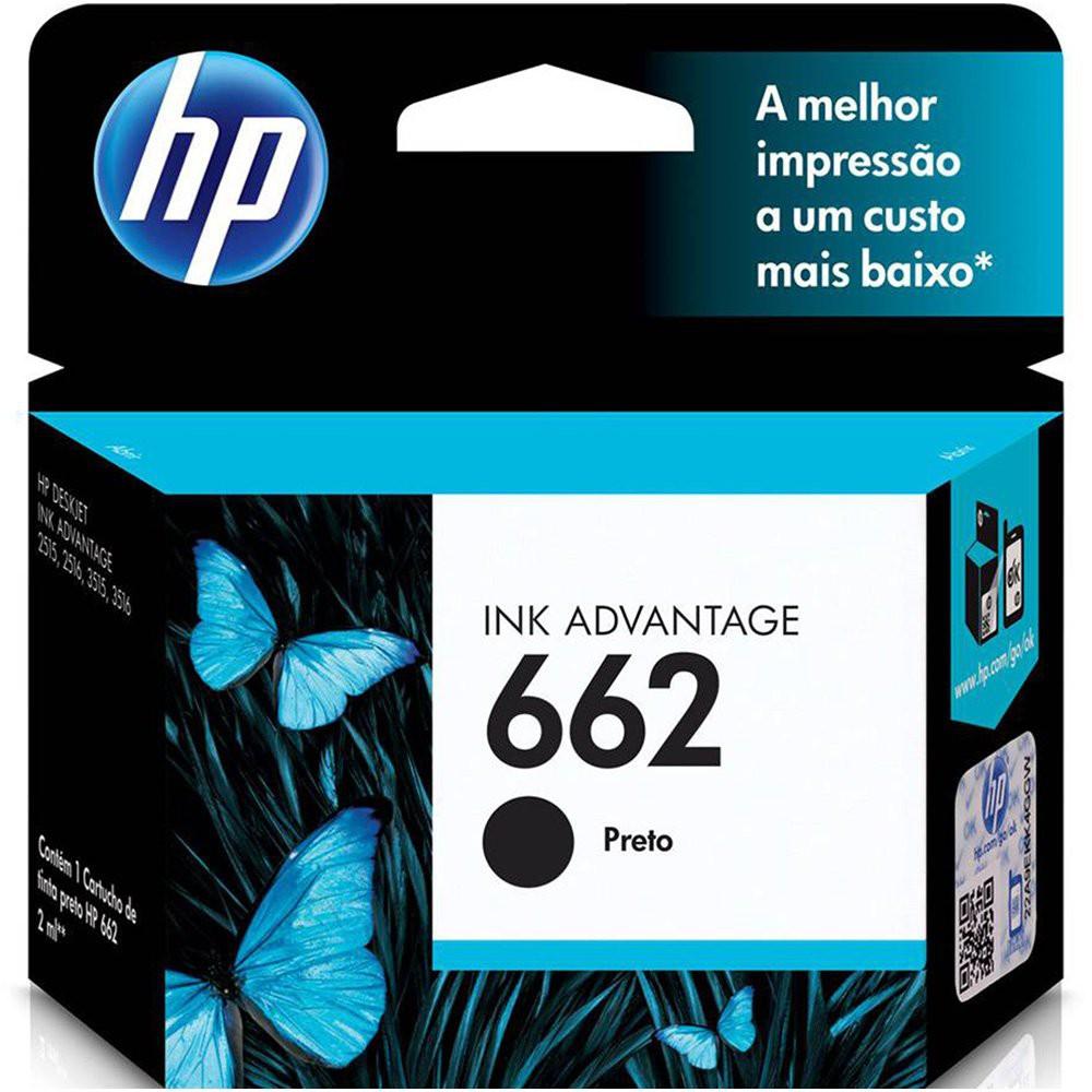 Cartucho 662 preto Original (CZ103AB) Para DeskJet 2516, 3516, 3546, 2546, 1516, 4646, 2646 Caixa 1 Unidade