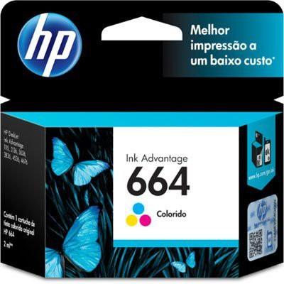 Cartucho 664 Colorido Original (F6V28AB) Para Deskjet 2136, 2676, 3776, 5076, 5276 1 unidade