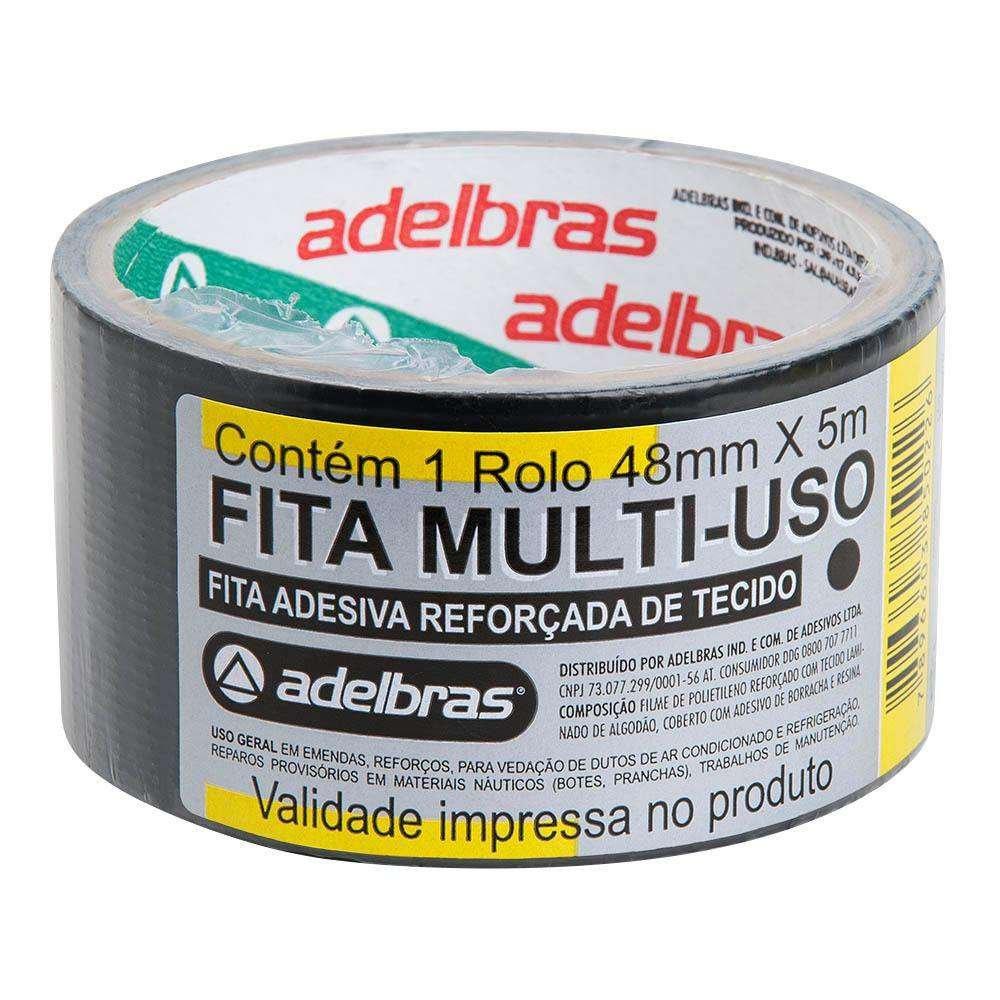 Fita adesiva multiuso 48mmx05m silver tape preta