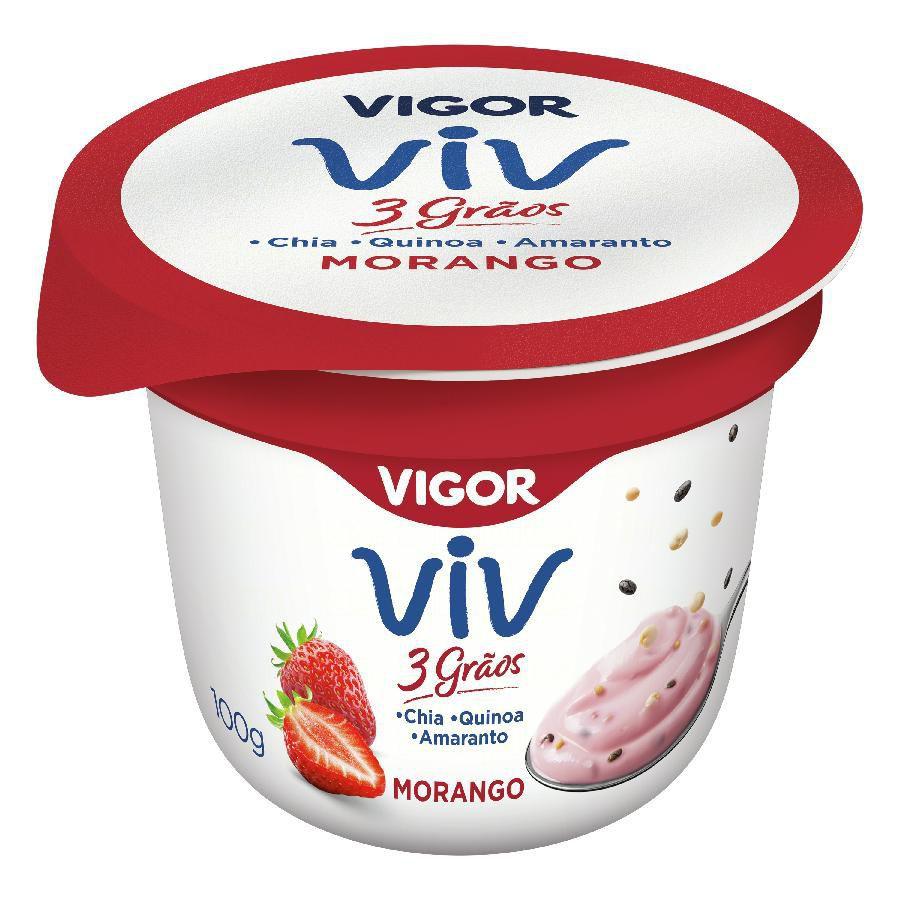 Iogurte 3 grãos morango Viv