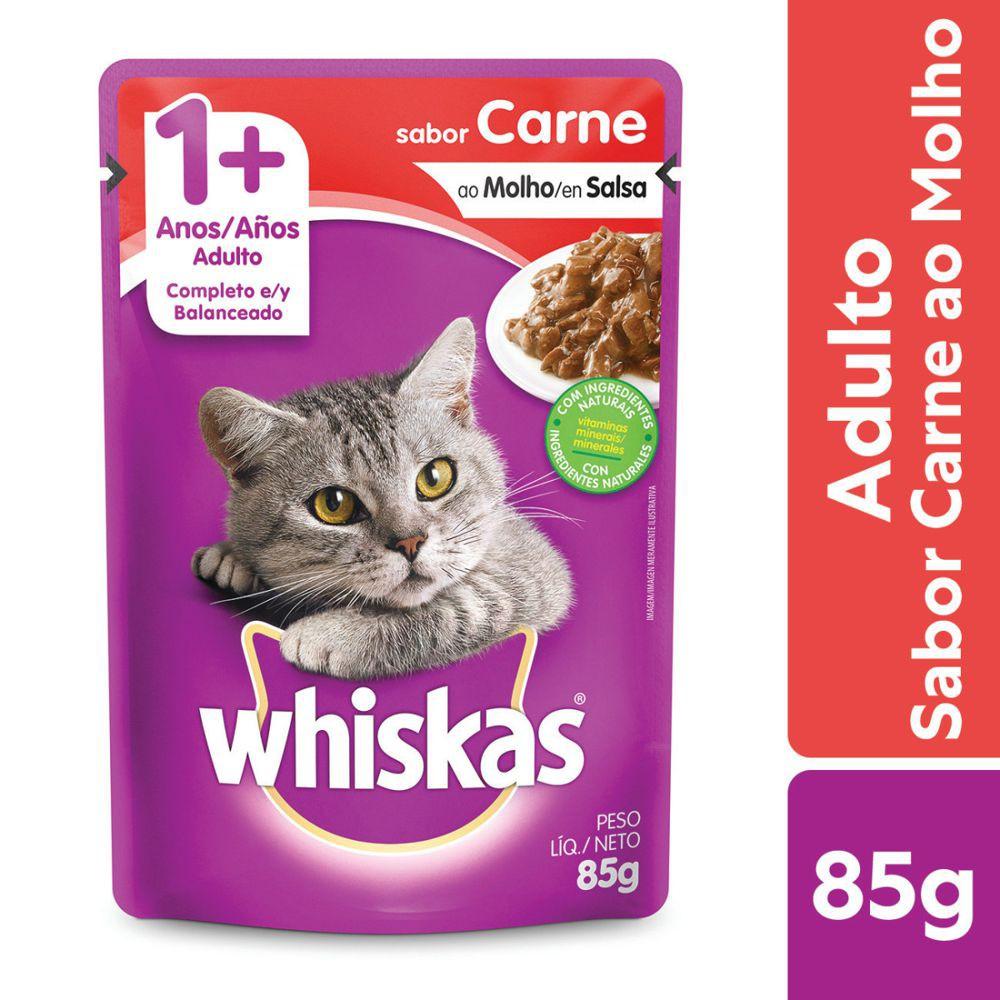 Ração úmida para gatos adultos sabor carne ao molho 85g